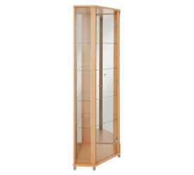 1 Glass Door Corner Display Cabinet - Beech Effect