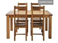 Collection Arizona Solid Pine Table and 4 Chairs Set