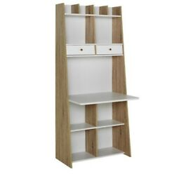 Brand New Auckland White/Oak Wall Ladder Modern Storage Shelving Unit with Desk Workstation