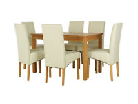 already built up Lincoln Solid Wood Table & 6 Skirted Chairs - Charcoal