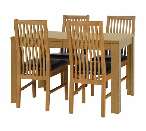 Ex display Ashdon Solid Wood Table & 4 Paris Chairs - Black