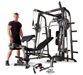 marcy diamond elite smith machine home gym & 125 kg olympic weight set