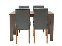 HOME Pemberton Oak Veneer Dining Table & 4 Chairs - Black