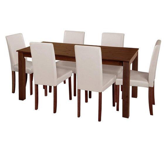 Pemberton Oak Veneer Dining Table 6 Chairs