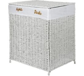 HOME 120 Litre Seagrass Laundry Sorter - White, As New