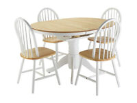 Fully assembled Kentucky Ext Solid Wood Table & 4 Chairs - Two Tone