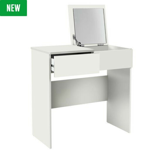Malibu 1 Drawer Dressing Table with Mirror - White