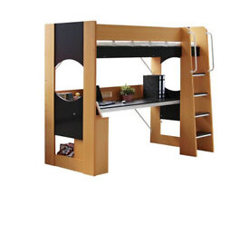 Study high sleeper bed, single bed with desk,with single mattress CAN DELIVER
