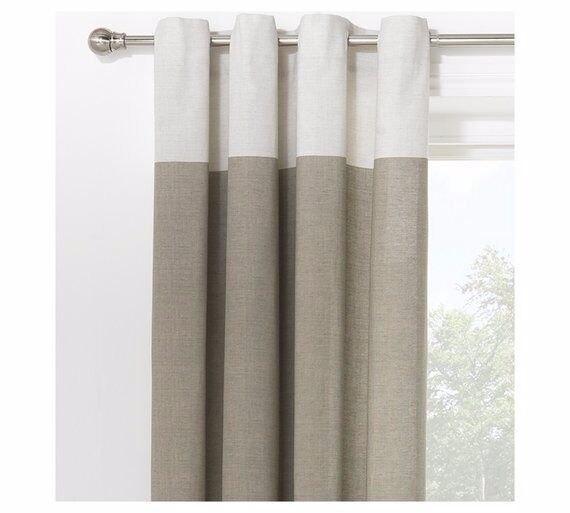 Argos Unlined Eyelet Curtains Cream Border And Light Grey Beige Main 229cm X