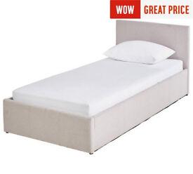 Hygena Lavendon Single Fabric Ottoman Bed Frame - Latte