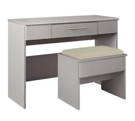 HOME Normandy 1 Drawer Dressing Table and Stool - Grey