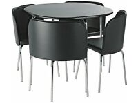 Hygena Amparo Dining Table & 4 Chairs - Black