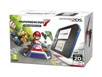Nintendo 2DS black and blue with Mario Kart