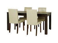 Fully assembled Penley Walnut Ext Dining Table & 4 Chairs - Cream