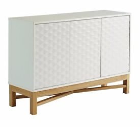Ex Display Zander Textured Large Sideboard - White & Oak Effect