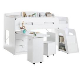Ultimate Storage Midsleeper Bed Frame - White