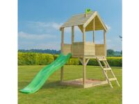 Children's wooden playhouse and slide