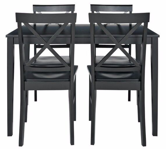 Ex-Display Jessie Dining Table & 4 Solid Wood Chairs - Black
