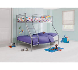 Lucas Metal Triple Bunk Bed Frame - Silver