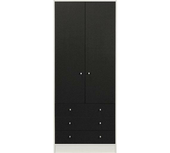 HOME Kids New Malibu 2 Door 3 Drw Wardrobe - Black on White