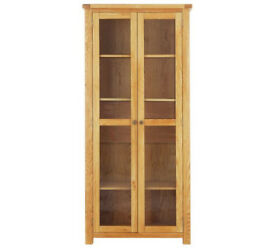 Heart of House Kent 2 Dr Glass Display Cabinet - Oak Veneer