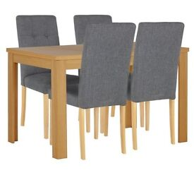 Adaline Ext Dining Table & 4 Chairs - Oak Effect
