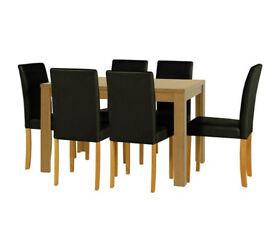 HOME Penley Oak Veneer Ext Dining Table & 6 Chairs - Black