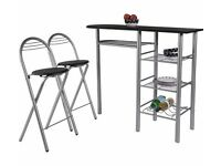 Amelia Breakfast Bar & 2 Chairs - Black