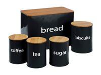 ColourMatch Set of 5 Wooden Lid Storage Jars - Black