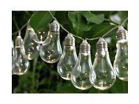 HOME Set Of 20 Solar Powered Bulb String Lights - White