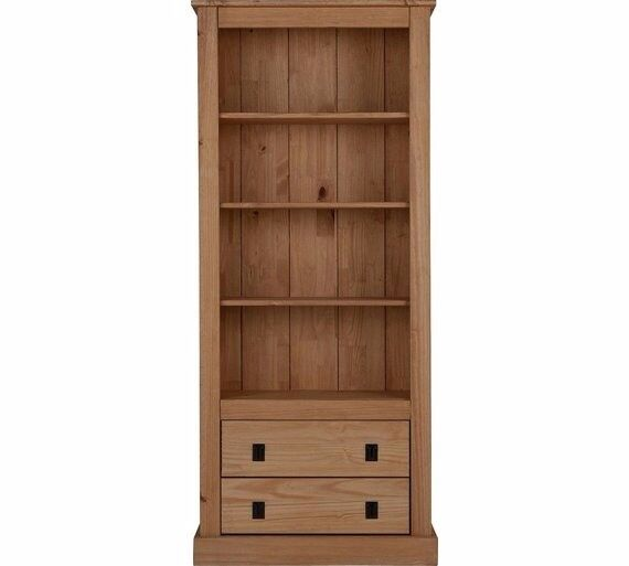Collection 3 Shelves 2 Drawer Tall Wide Solid Pine Bookcase 784.