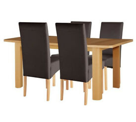 Collection Stonebury Oak Veneer Ext Table & 4 Chairs - Choc