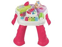 baby activity walker and playtable pink