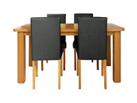 HOME Heyford Ext Wood Effect Dining Table & 4 Chairs - Black