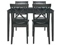Ex display Jessie Dining Table & 4 Solid Wood Chairs - Black