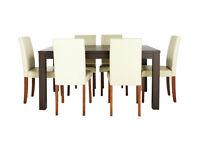 HOME Pemberton Oak Veneer Dining Table & 6 Chairs - Cream
