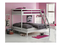 Kaycie Single and Double Bunk Bed Frame - White