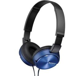 Sleek blue sony headphones