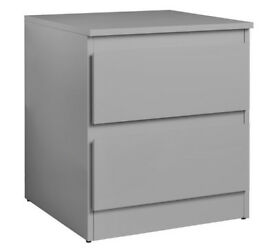 Hygena Larvik 2 Drawer Bedside Chest - Grey Gloss