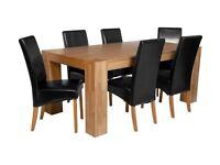 Heart of House Alston Oak Veneer Table & 6 Chairs - Black