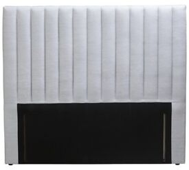 New HEADBOARD for double bed. Grey fabric. Boxed. Delivery available.