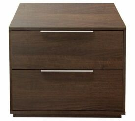 Ex Display Bergen 2 Drawer Bedside Chest - Walnut Effect