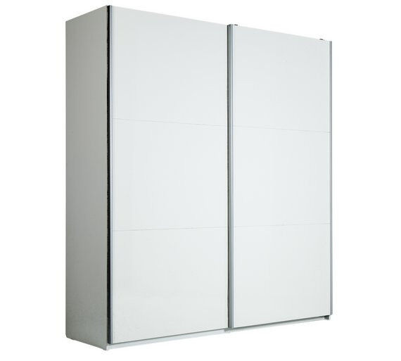 hygena bergen 2 door large sliding wardrobe white gloss - White Wardrobe