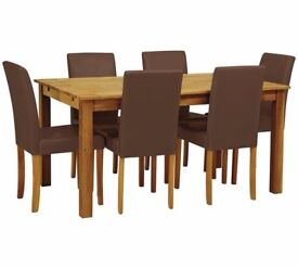 Ex display Ashdon Solid Wood Table & 6 Mid Back Chairs - Chocolate