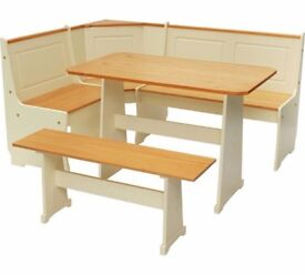 Solid Pine Corner Dining Set with Bench