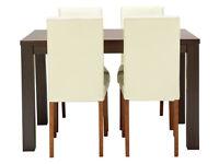 HOME Pemberton Oak Veneer Dining Table & 4 Chairs - Cream