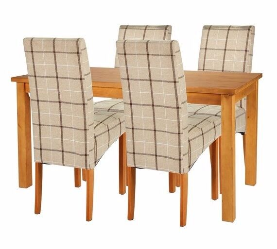 Ex Display Lincoln Solid Wood Table & 4 Skirted Chairs - Checked