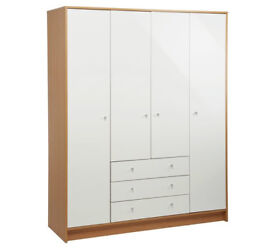 Malibu 4 Door 3 Drw Wardrobe - White Gloss & Oak Effect