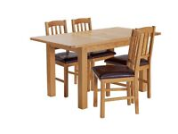 Ashwell Extendable Oak Veneer Table & 4 Chairs