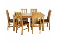 Ex-display Ashdon Solid Wood Table & 6 Paris Chairs - Chocolate